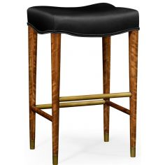Black leather barstool with wood legs