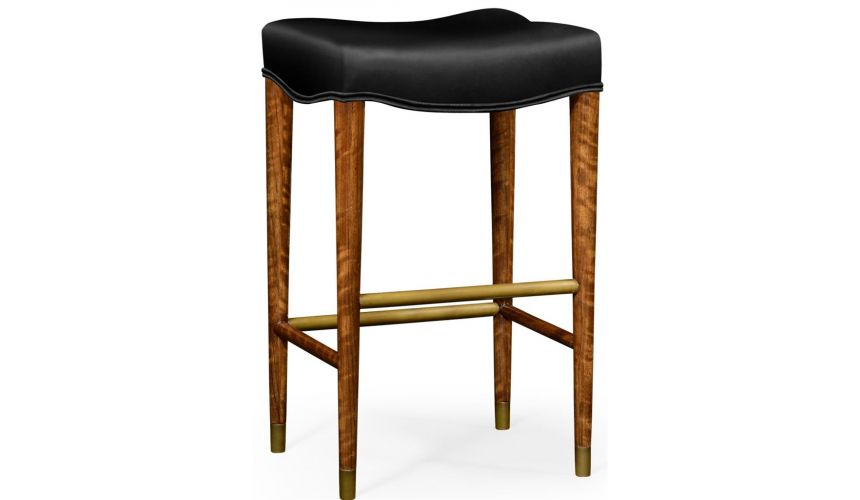 Home Bar Furniture Black leather barstool with wood legs