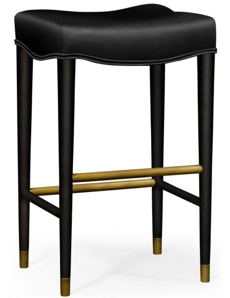 Home Bar Furniture Black barstool with leather seat