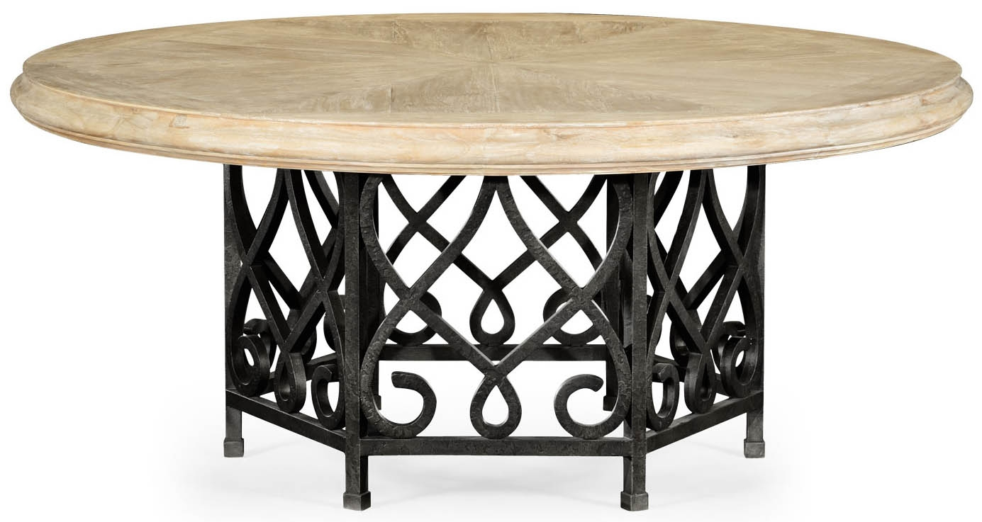 Wood Table With Black Wrought Iron Base