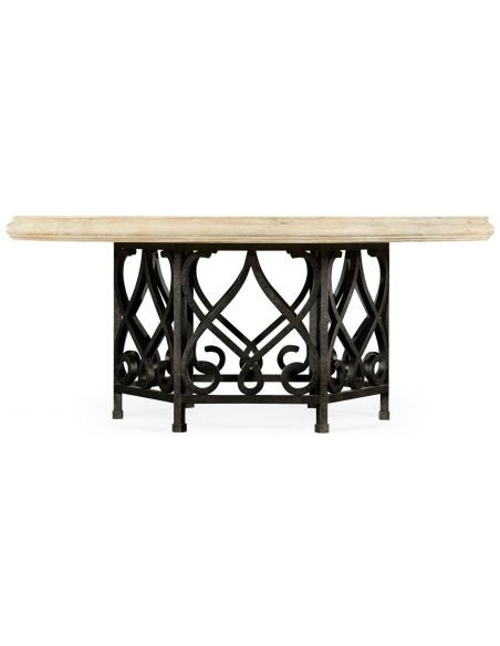 Dining Tables Wood table with black wrought iron base