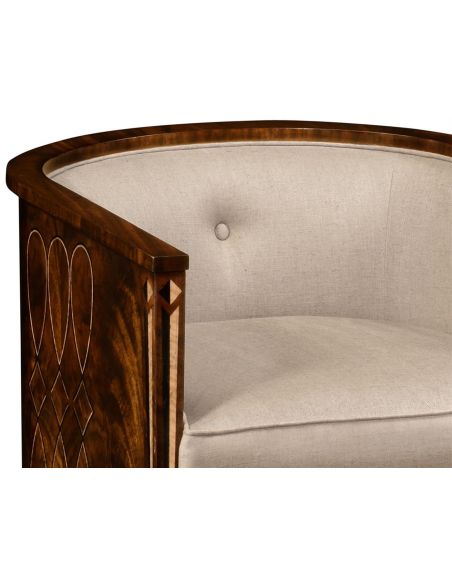 Luxury Leather & Upholstered Furniture Mahogany brown club chair