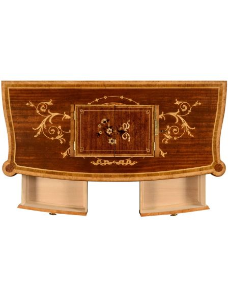 Fine mahogany side cabinet with floral marquetry inlays