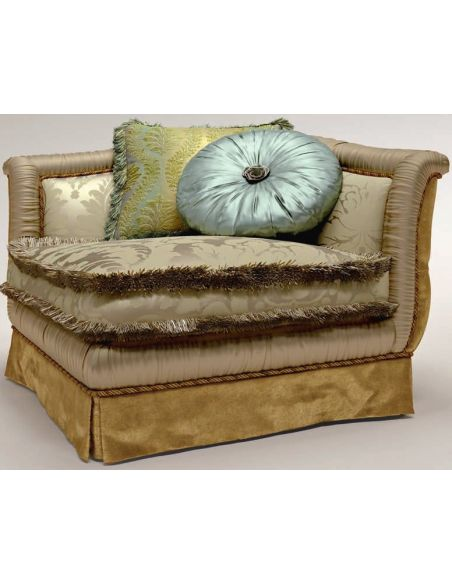 Luxury Leather & Upholstered Furniture Pillow Upholstered Corner Sofa