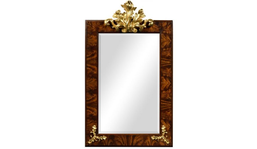 Decorative Accessories Rectangular Mirror with Gilded Carving
