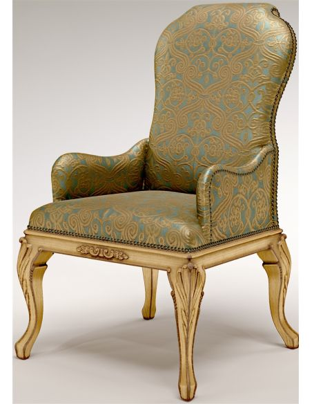 Dining Chairs Golden Armchair with Nail head Trims
