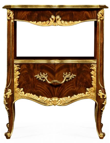 LUXURY BEDROOM FURNITURE Gilt Carved Accented Nightstand