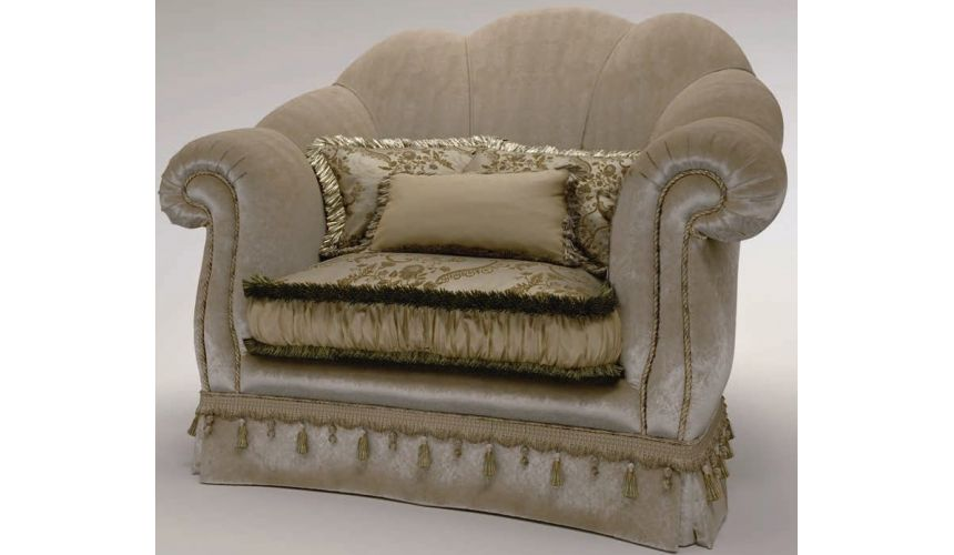 Luxury Leather & Upholstered Furniture Scalloped Upholstered Club Chair