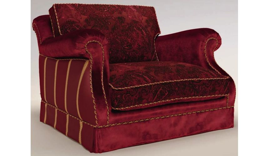 Luxury Leather & Upholstered Furniture Fully Upholstered Sofa W/ Cushioned Back