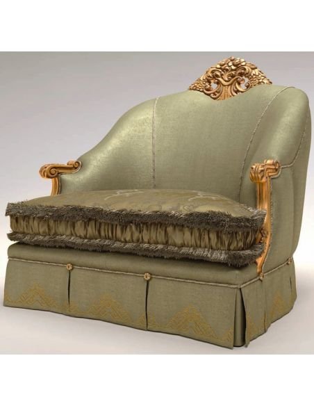 Luxury Leather & Upholstered Furniture Upholstered Sofa W/ Carved Golden Detailing
