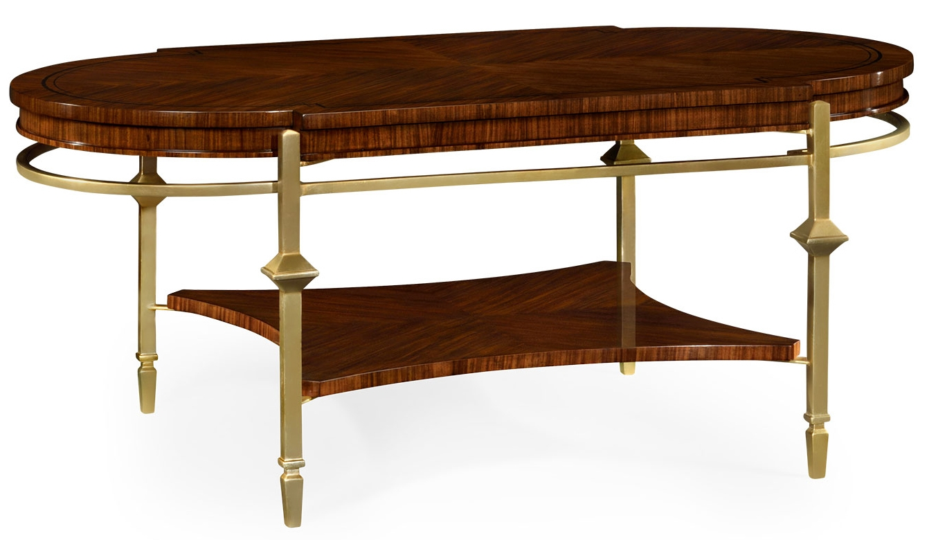 Oval Brass Base Coffee Table