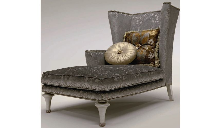 Luxury Leather & Upholstered Furniture Winged Chaise Lounge Chair