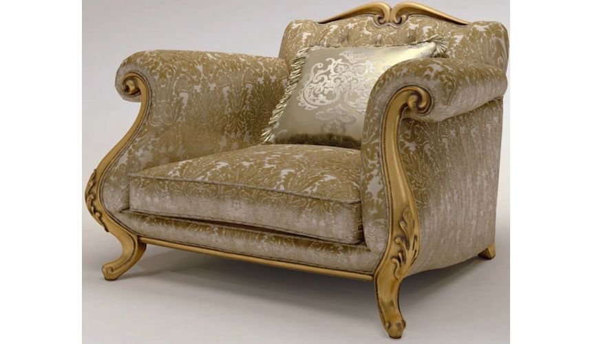Luxury Leather & Upholstered Furniture Texture Upholstered Scrolled Armchair