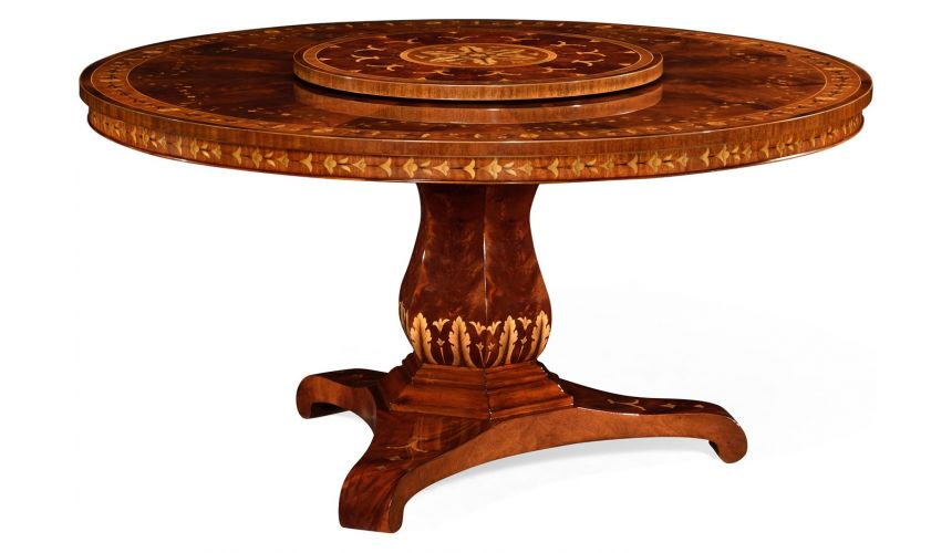 Dining Tables Patterned Round Pedestal Table