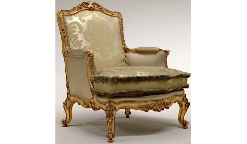 Luxury Leather & Upholstered Furniture Carved Motif Accented Upholstered Armchair