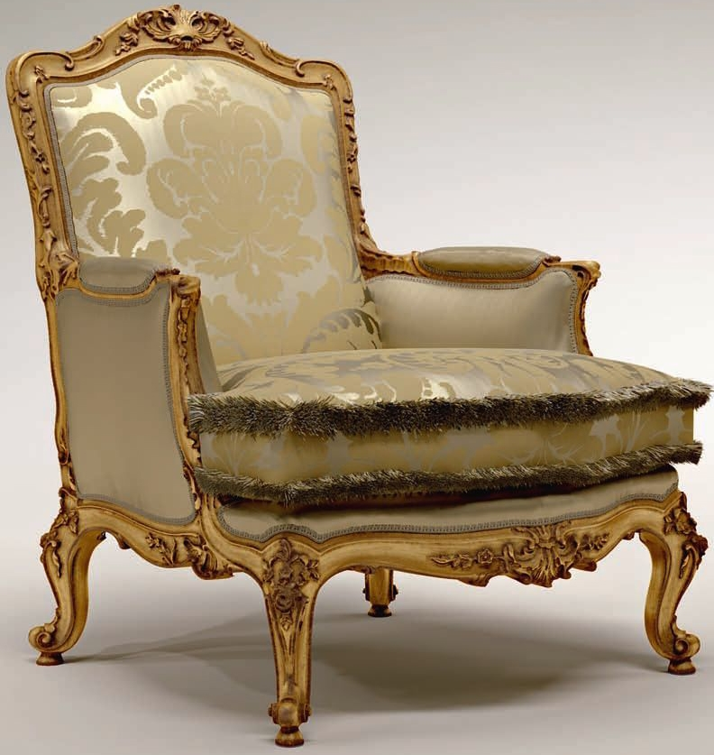 Carved Motif Accented Upholstered Armchair