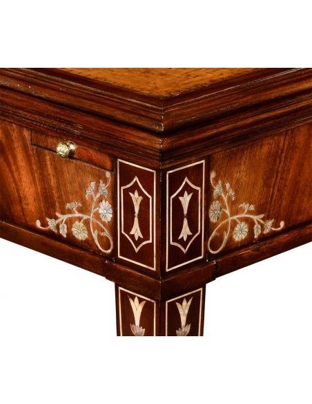 Game table made of mahogany with mother of pearl inlay