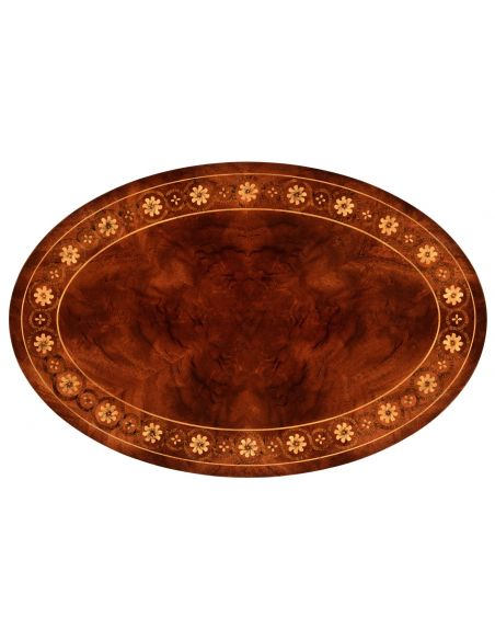 Round & Oval Side Tables Oval mahogany lamp table with gold inlay
