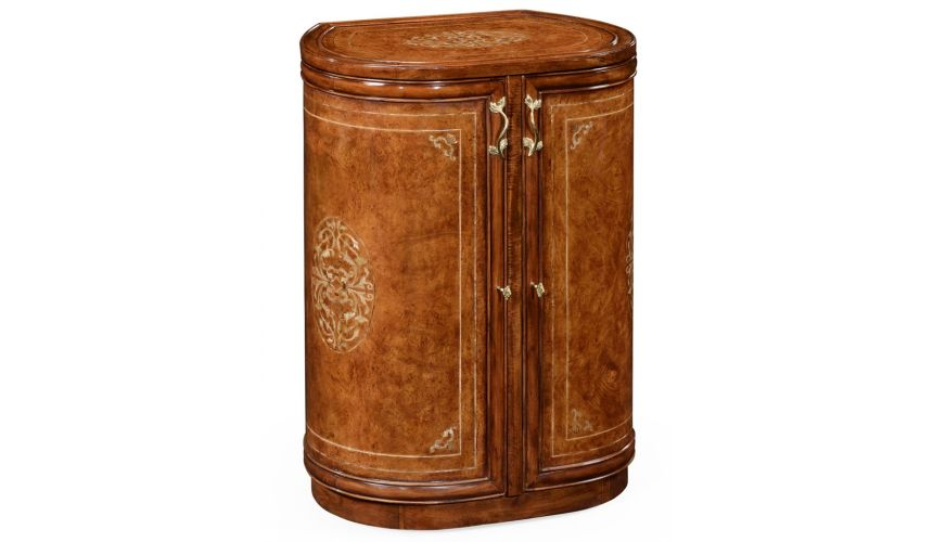 Round & Oval Side Tables Luxury locking jewelry armoire with floral mother of pearl marquetry.