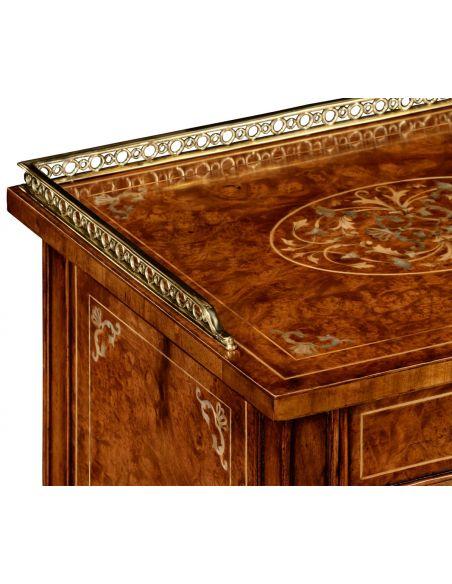 Square & Rectangular Side Tables Regency Style Laurel Burr Veneered bedside Cabinets-31