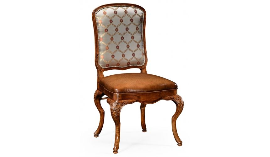 Dining Chairs Walnut Louis XV Style Side Chair With Curved Back-71