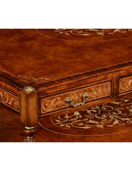 Coffee Tables Burr and mother of pearl inlaid rectangular coffee table
