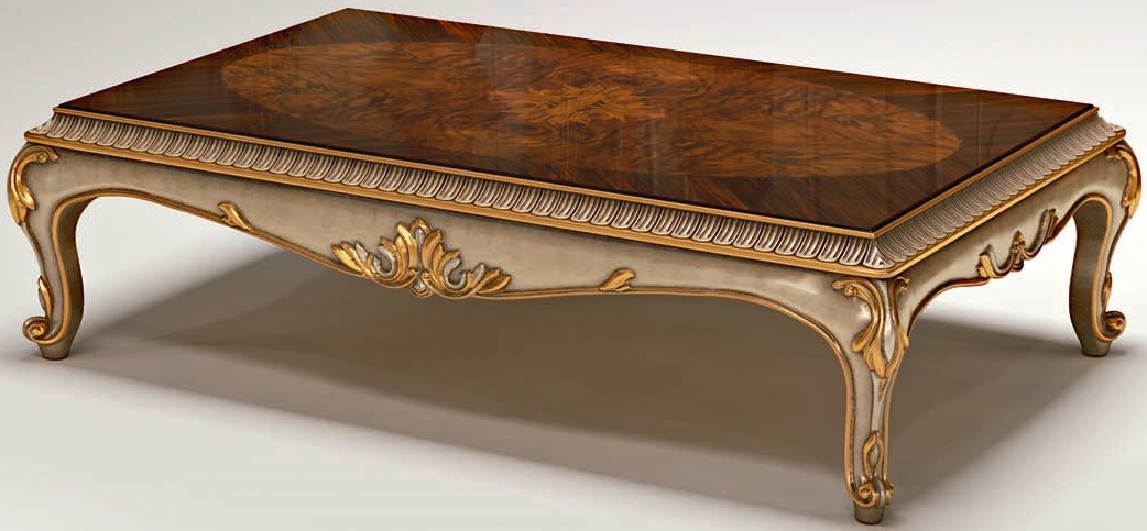 Classy wooden table with motif carvings
