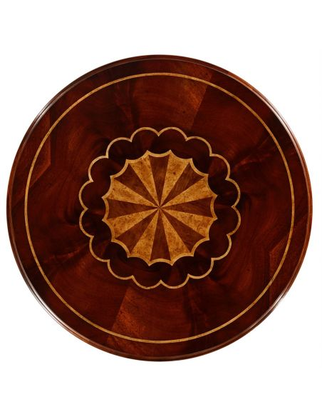 Round & Oval Side Tables Patterned Round Pedestal Table