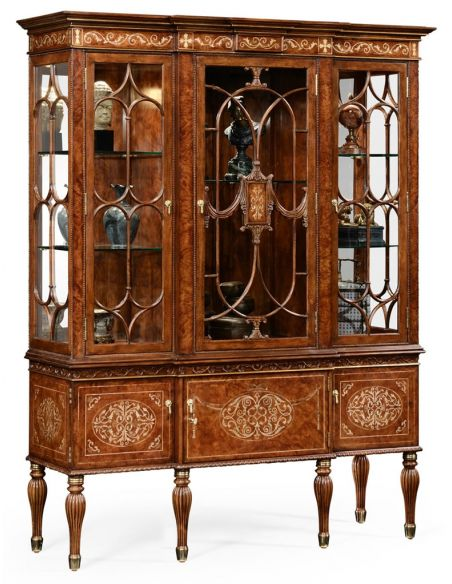 Breakfronts & China Cabinets Breakfront Display Cabinet with Adjustable Glass Shelves-15