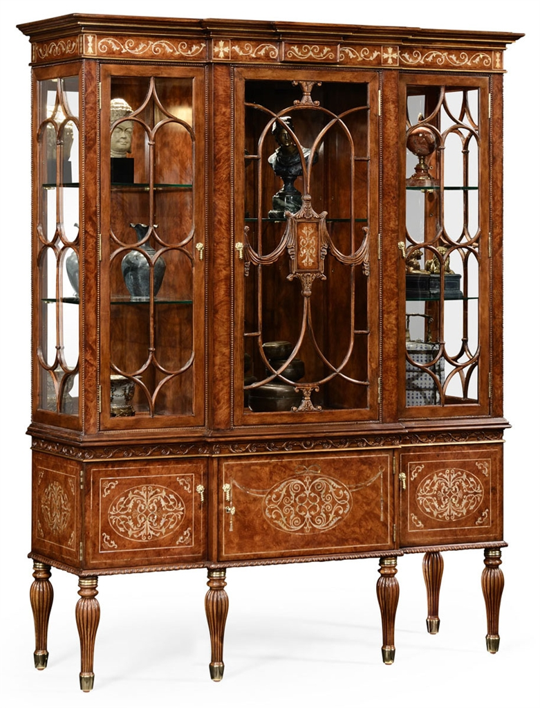 Breakfront display cabinet with adjustable glass shelves for Dining room glass cabinet
