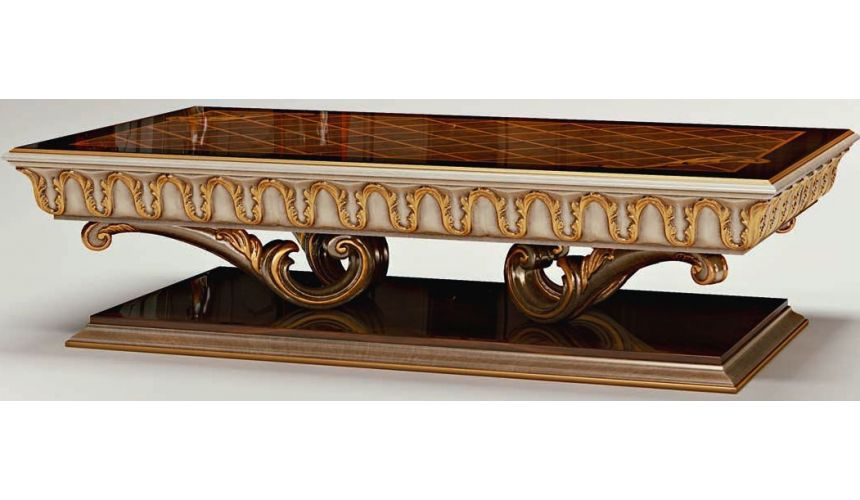 Furniture Masterpieces Rectangular Coffee Table With Carved Gold Detailing