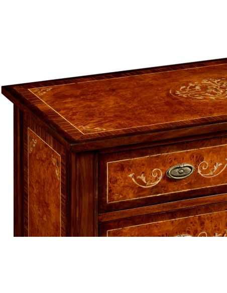 LUXURY BEDROOM FURNITURE 7 Drawer High dresser with Mother of Pearl Inlay