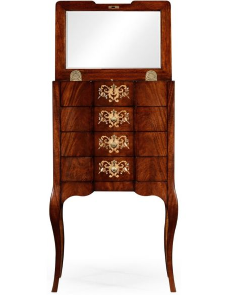 LUXURY BEDROOM FURNITURE Mahogany Jewelry Chest and Vanity