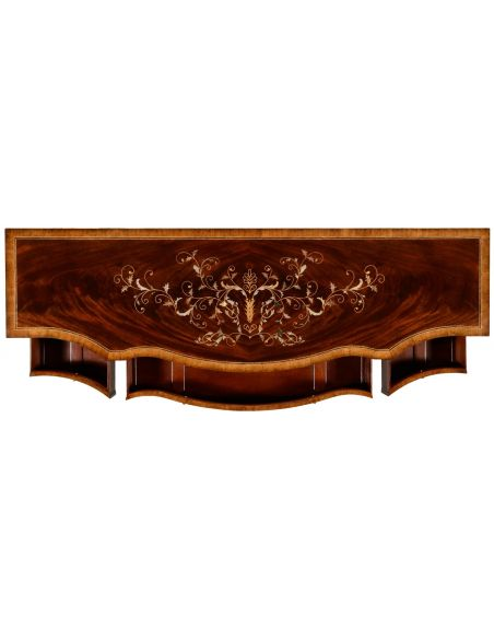 Breakfronts & China Cabinets Equisite three panel mahogany side cabinet