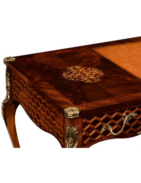 Executive Desks Mahogany desk with mother of pearl inlay