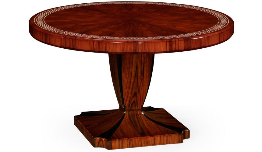 Santos Rosewood Dining Table With Pedestal Leg With Bone Inlay