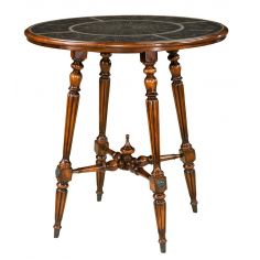 Engraved brass top pub table