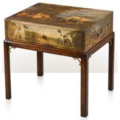 A dog dcoupage bedside / lamp table
