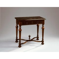 Accent lamp side table walnut & brass engraved