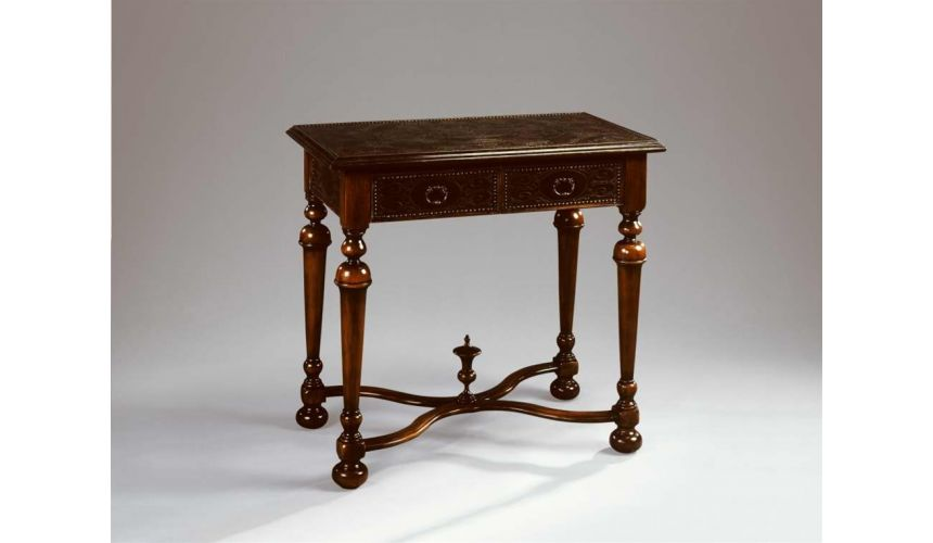 Square & Rectangular Side Tables Accent lamp side table walnut & brass engraved