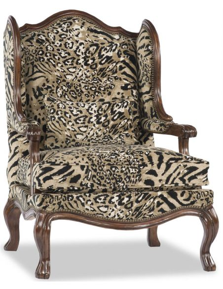 Luxury Leather & Upholstered Furniture Animal Print Arm Chair