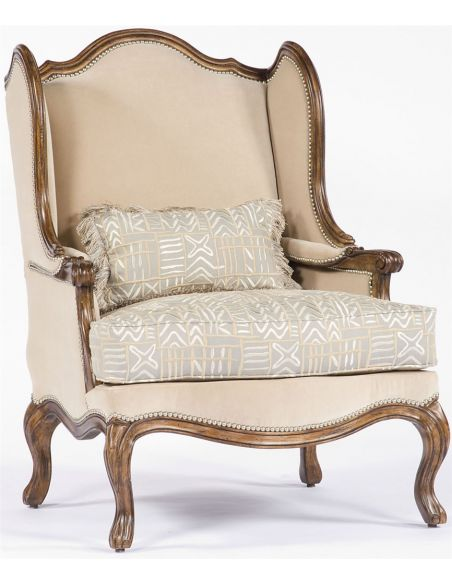 Luxury Leather & Upholstered Furniture Fancy Cream Chair with wood trim