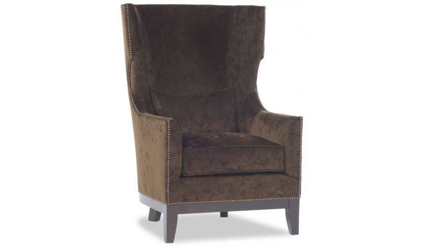 Luxury Leather & Upholstered Furniture Brown High Back Chair