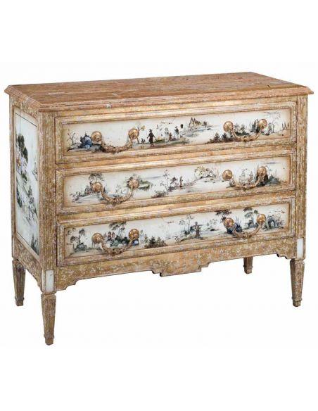Chest Of Three Drawers Walnut Travertine Top Brass Handles