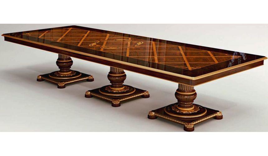 Dining Tables Rectangular Dining Table Triple Pedestal Base