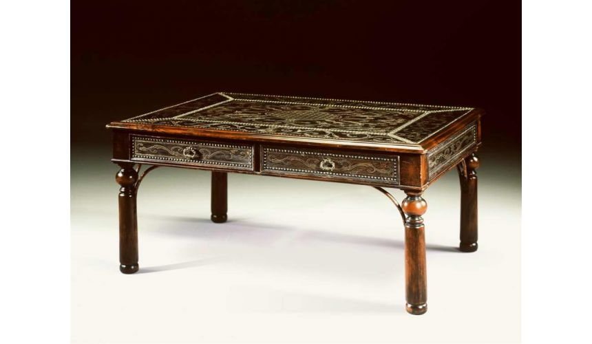 Coffee Tables Indian walnut & brass engraved panel cocktail table