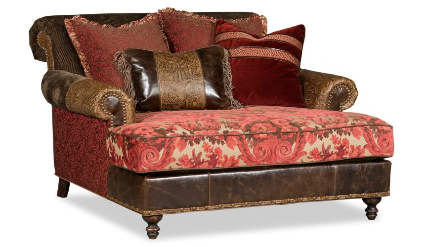 Luxury Leather & Upholstered Furniture double chair chaise