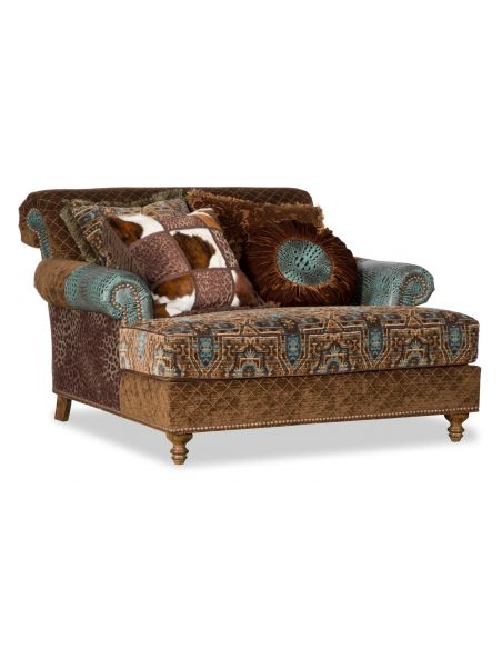 Luxury Leather & Upholstered Furniture Colorful fabric upholstered double chair chaise 4469
