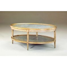 Eglomise silvered oval two tier cocktail table