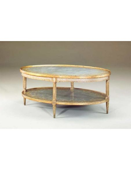 Coffee Tables Eglomise silvered oval two tier cocktail table